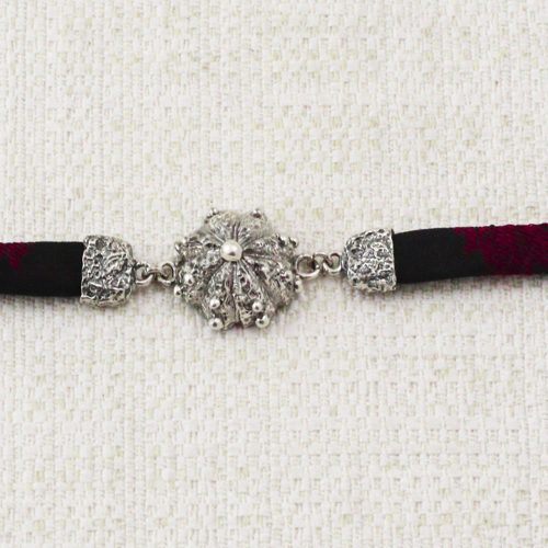 Roots Bracelet with Black and Dark Red Brocade 1