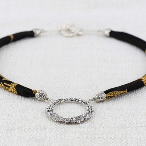 Moon Ring Necklace Large with Black and Gold Brocade 1