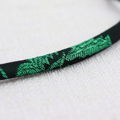 Collana Moon Ring Large con Broccato Nero e Verde 4