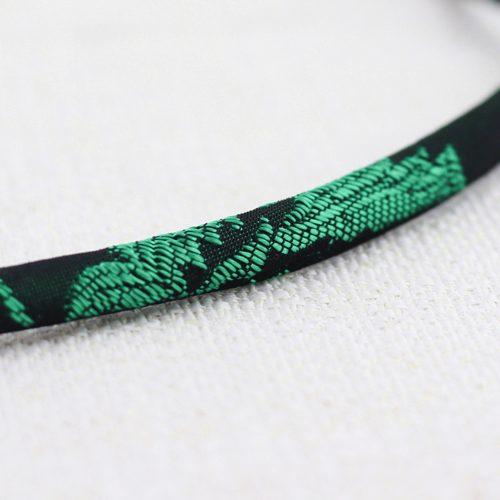 Collana Moon Ring Small con Broccato Nero e Verde 4