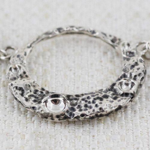 Collana Moon Ring Small con Broccato Nero e 3