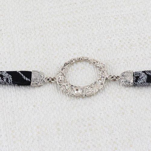 Bracciale Moon Ring con Broccato Nero e Argento 1