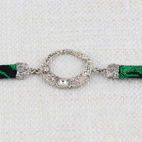 Bracciale Moon Ring con Broccato Nero e Verde 1