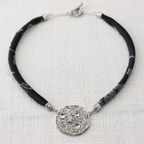 Full Moon Necklace Large with Black and Silver Brocade 1