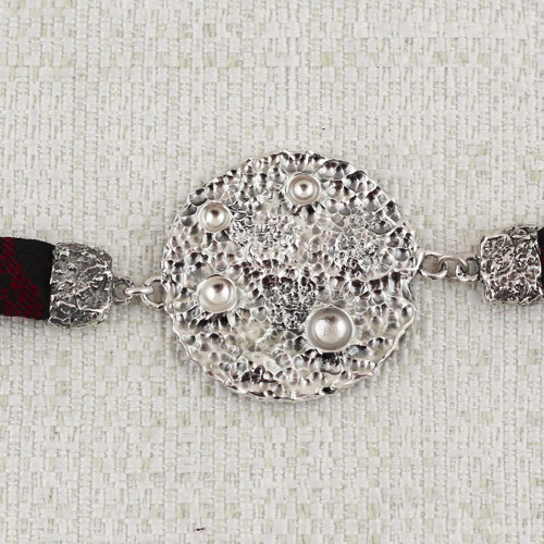 Full Moon Bracelet with Black and Dark Red Brocade 6