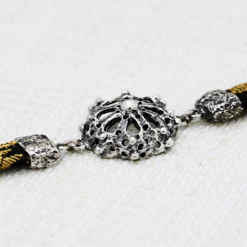 Roots Fretwork Bracelet with Black and Gold Brocade 3
