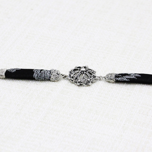 Roots Fretwork Bracelet with Black and Silver Brocade 6