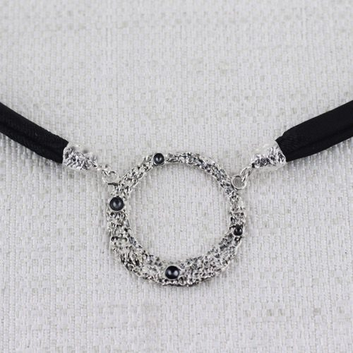 Moon Ring Double Face Large Necklace with Burnishings in craters and Brocade. 1