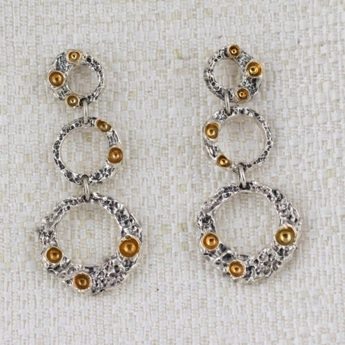 Moon Ring Earrings with 3 Pendant Circles and Gildings 1