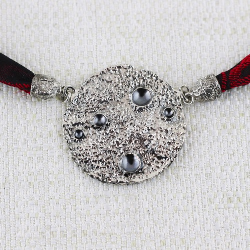 Full Mon Necklace Large Duble Face with burnishings in craters. 2