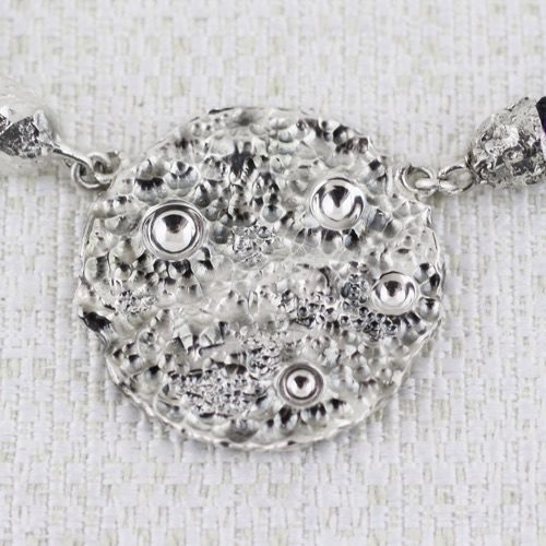 Full Moon Small Necklace with burnishings in craters 3