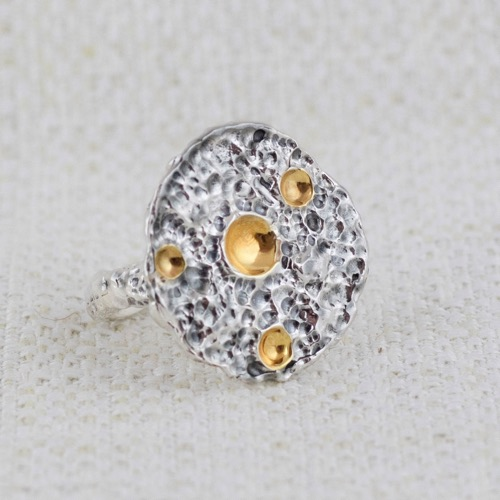 Full Moon Small Ring with gilding in craters 2