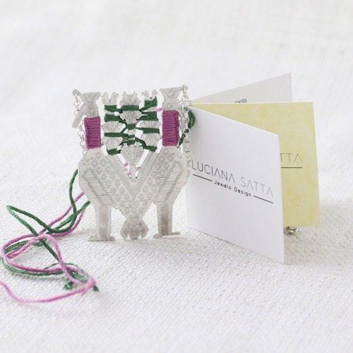 """""""Pavoncelle"""" Necklace Cotton (Carpet detail). """"Li Trami - Aggius"""" Collection 1"""
