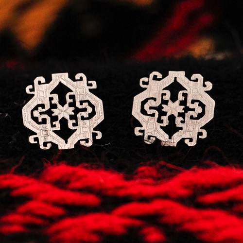 """Anatolica""  Earrings (Detail of the pattern) ""Li Trami - Aggius"" 3"