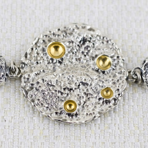 Full Moon Double Face Bracelet  with gildings in craters 4